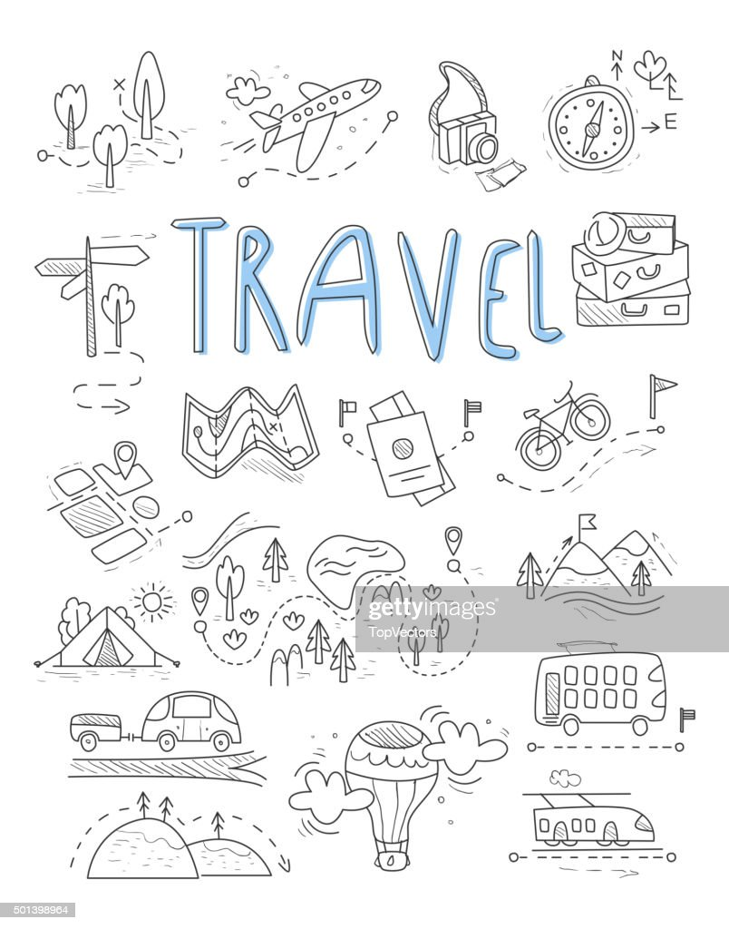 Travel, camping icons in Doodle style great set