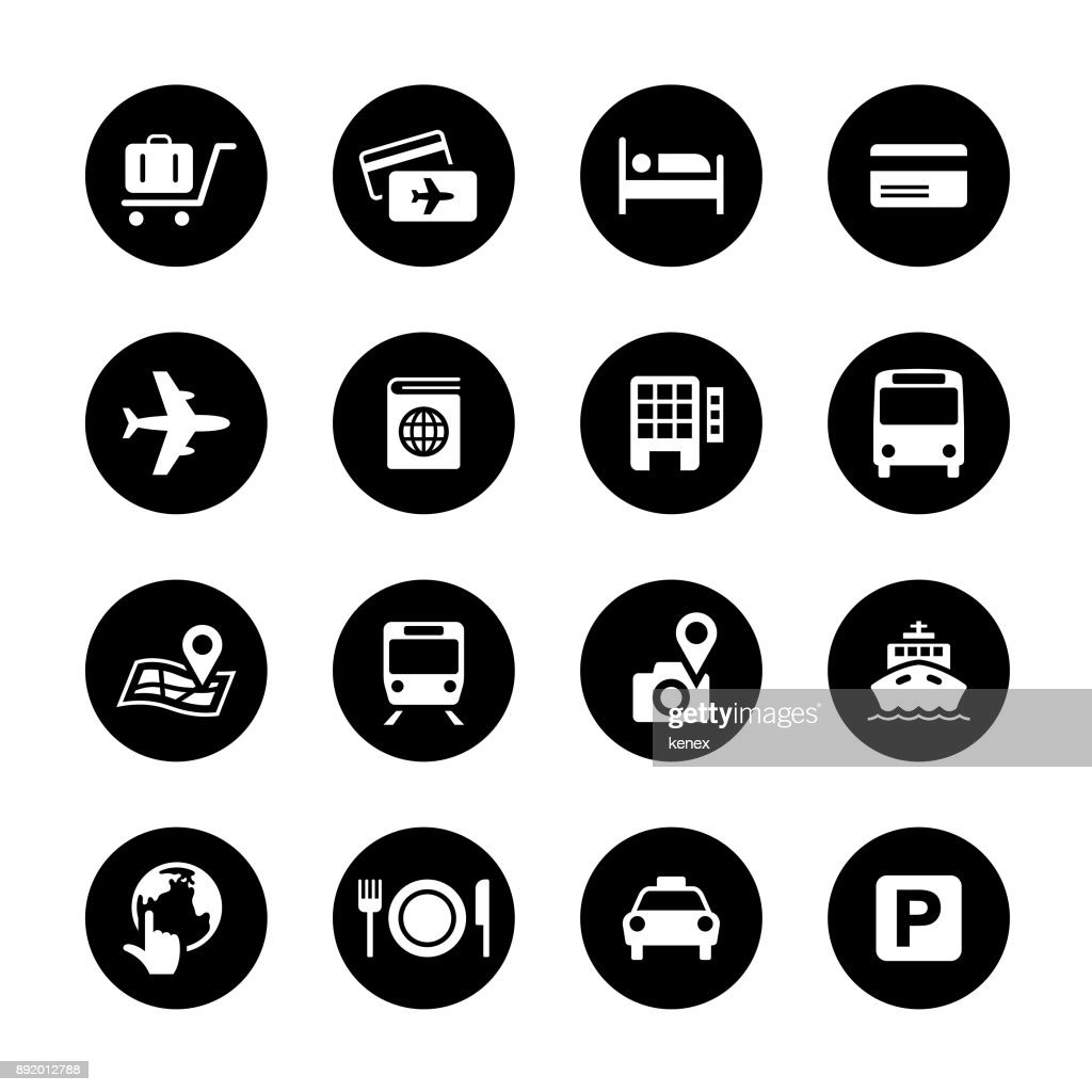 Travel Circle Icons Set : stock illustration