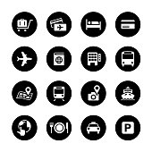 Travel Circle Icons Set