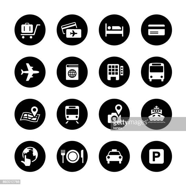 travel circle icons set - human settlement stock illustrations