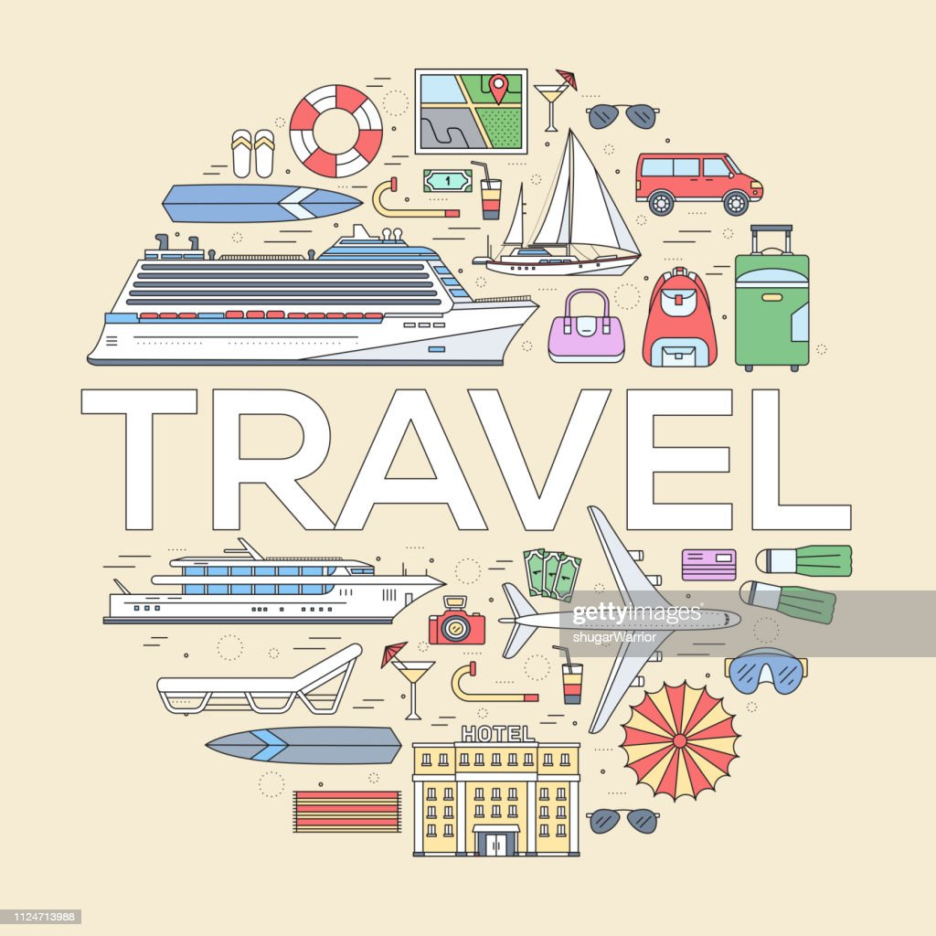 Travel circle infographics template concept. Icons design for your product or design, web and mobile applications. Vector flat with long shadow illustration background