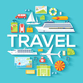 Travel circle infographics template concept. Icons design for your product