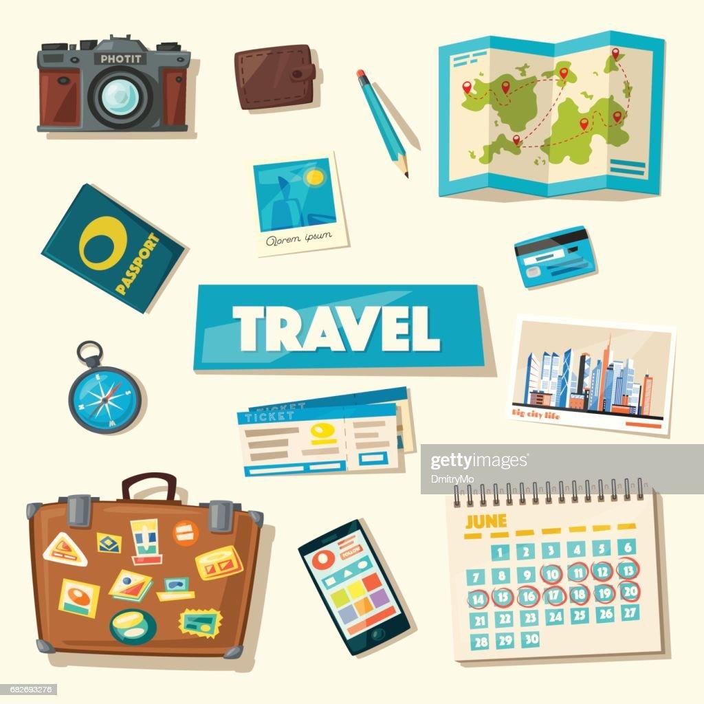 Travel collection. Vacation theme. Cartoon vector illustration.