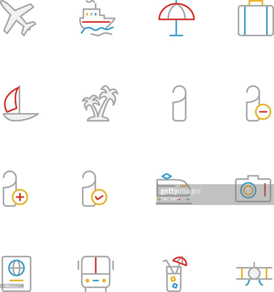 Travel Colored Line Icons 1 : Vector Art