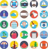 Travel Colored Vector Icons 1