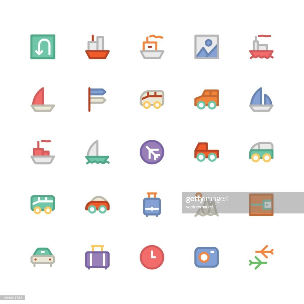 Travel Colored Vector Icons 2