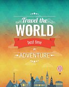 Travel composition with famous world landmarks and vintage badge.