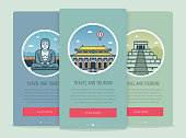 Travel composition with famous world landmarks Kamakura, Chichen Itza, Beijing. Travel and Tourism. Concept website template. Vector