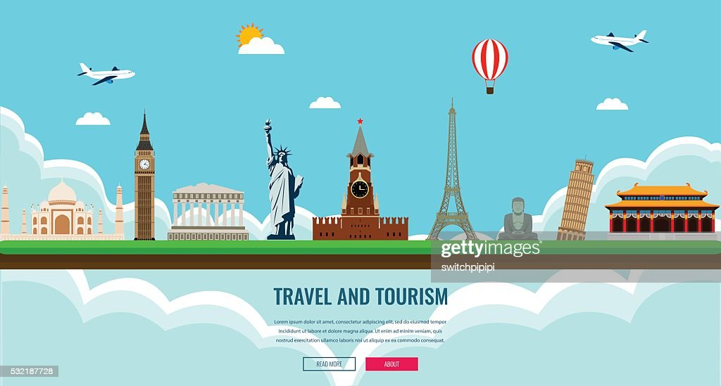 Travel composition with famous world landmarks. Travel and Tourism.