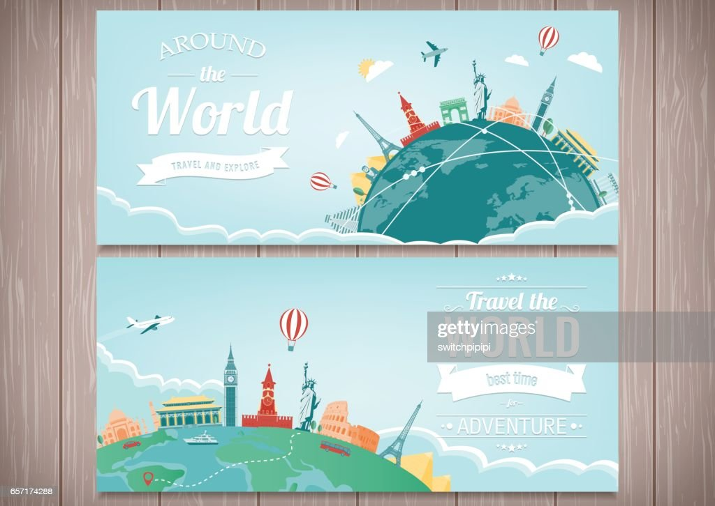 Travel composition with famous world landmarks. Travel and Tourism. Concept website template. Vector. Modern flat design