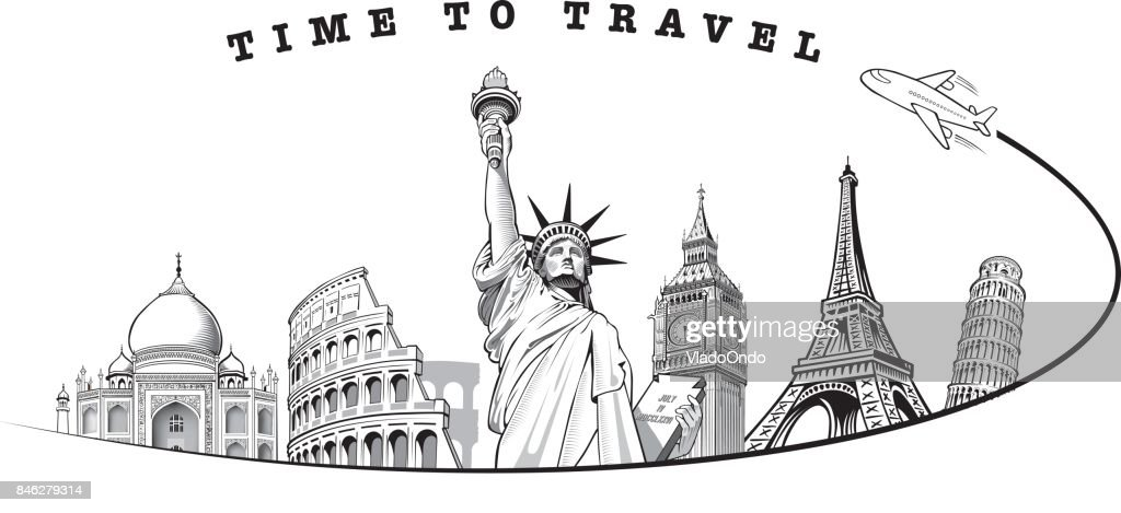 Travel composition with famous world landmarks. Travel and Tourism concept
