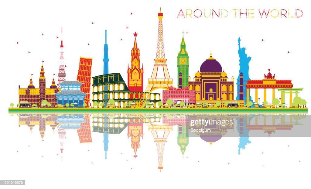 Travel Concept Around the World with Famous International Landmarks