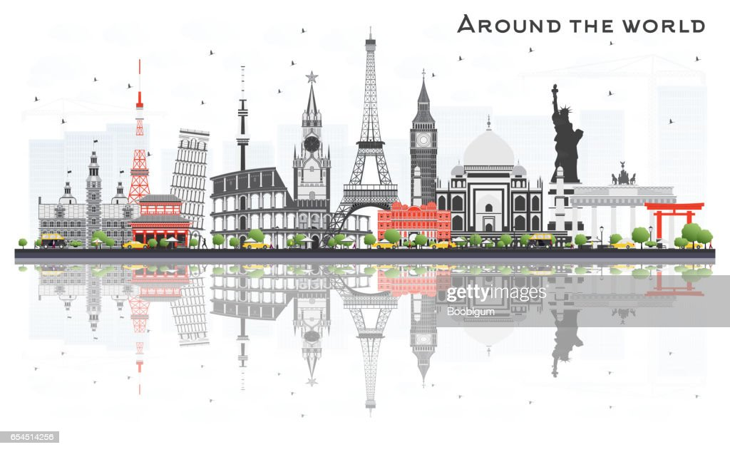 Travel Concept Around the World with Famous International Landmarks.