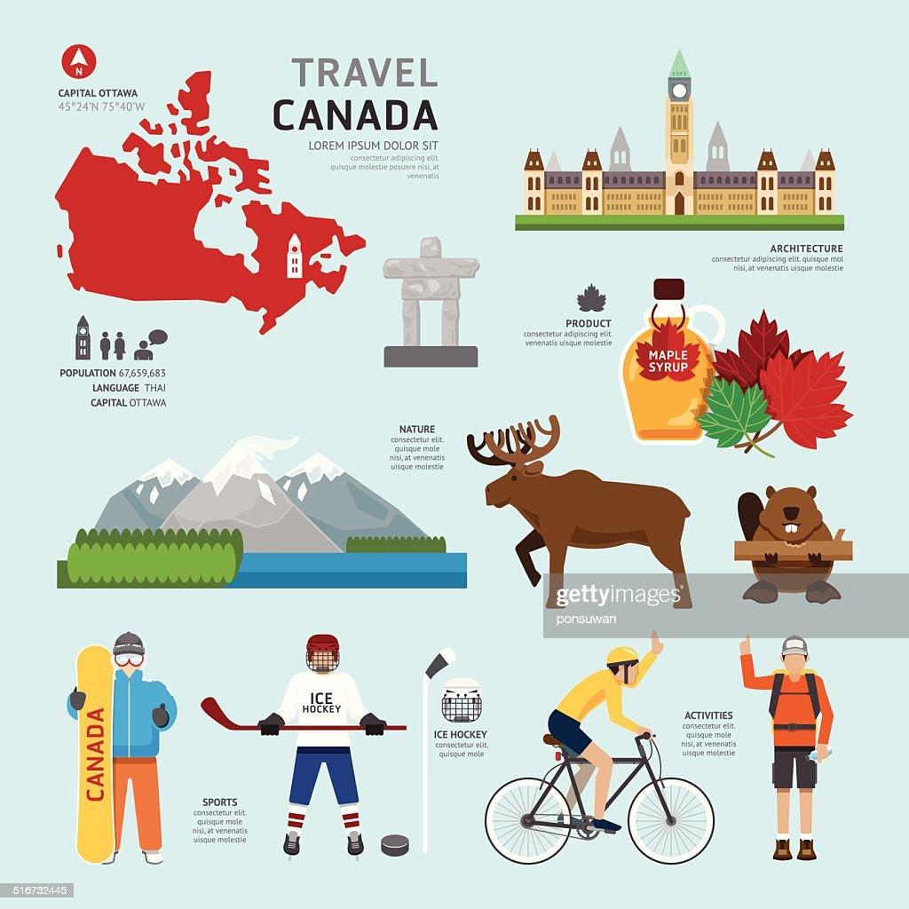 Travel Concept Canada Landmark Flat Icons Design .Vector