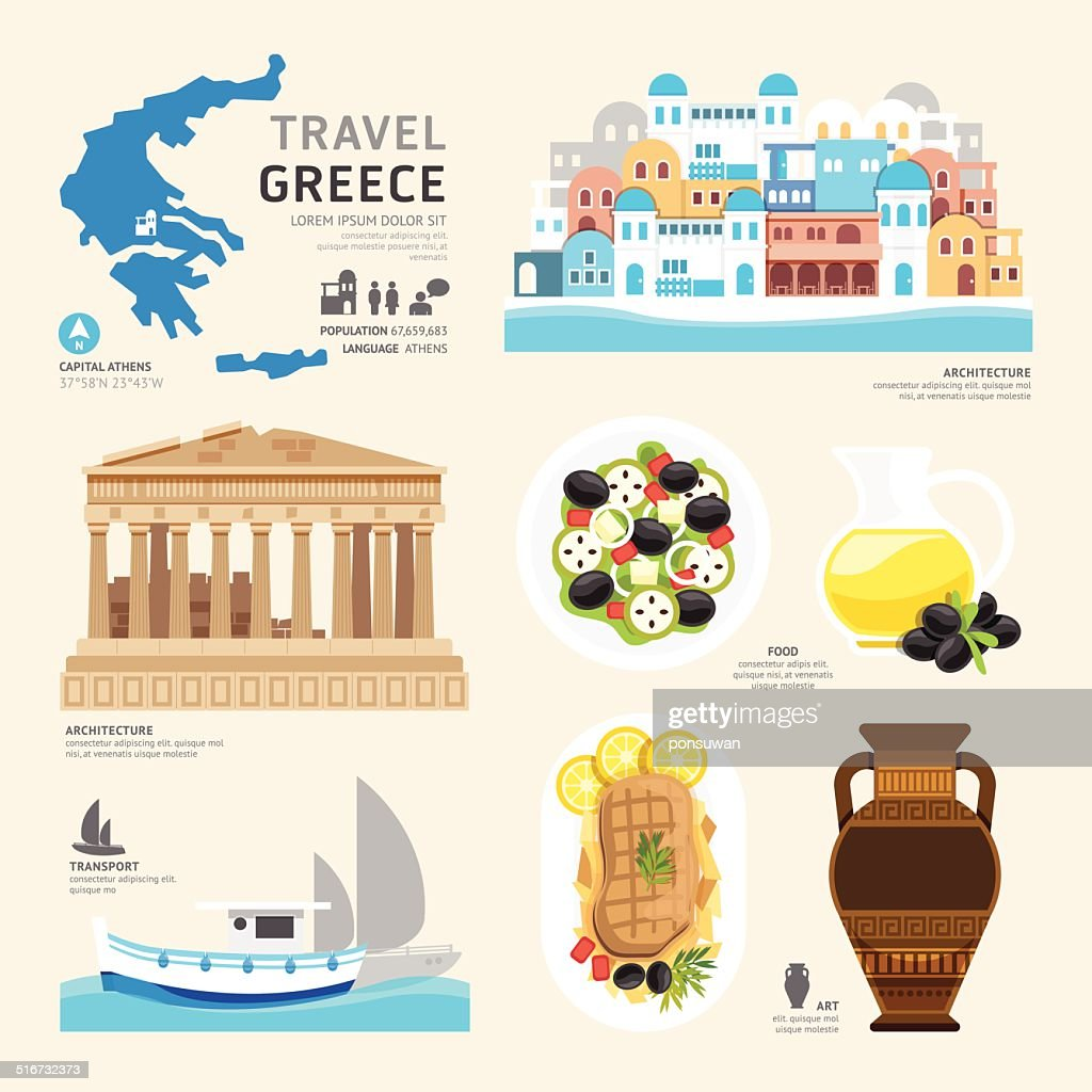 Travel Concept Greece Landmark Flat Icons Design .Vector