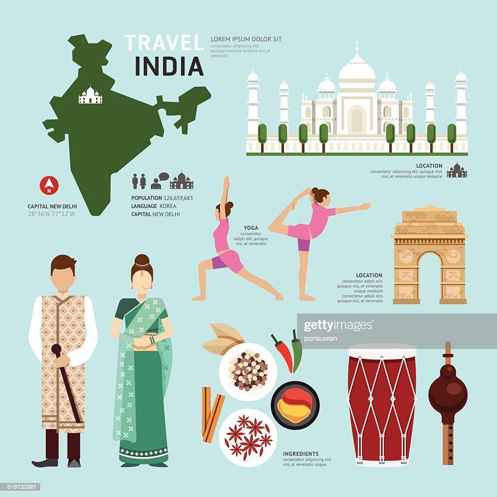 Travel Concept India Landmark Flat Icons Design .Vector Illustra
