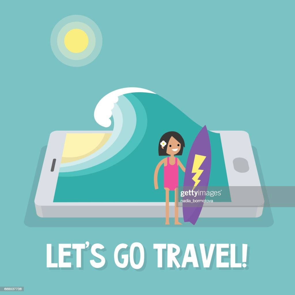 Travel concept. Mobile application. Augmented reality. young female character holding a surfboard near by the ocean. Flat editable vector illustration, clip art