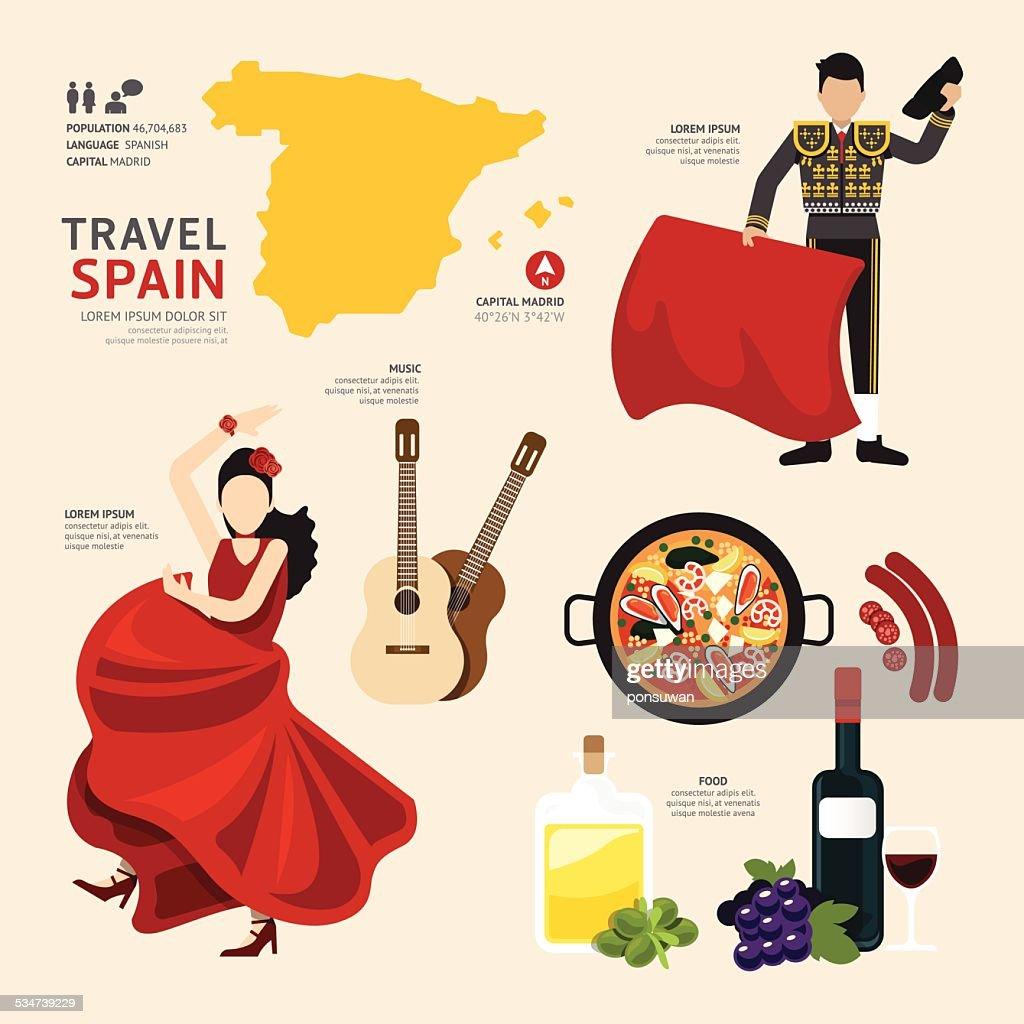 Travel Concept Spain Landmark Flat Icons Design .Vector