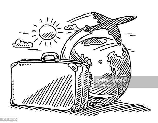 reisen konzept koffer sun flugzeug zeichnung der erde - urlaub stock-grafiken, -clipart, -cartoons und -symbole