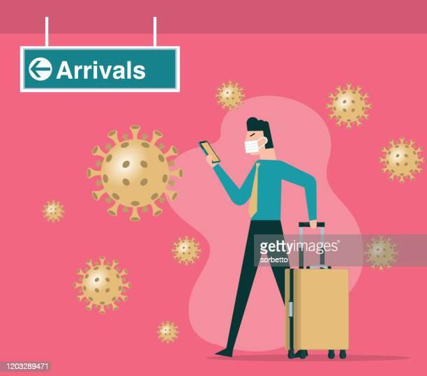 ilustraciones, imágenes clip art, dibujos animados e iconos de stock de viajes - coronavirus - hombre - arma biológica