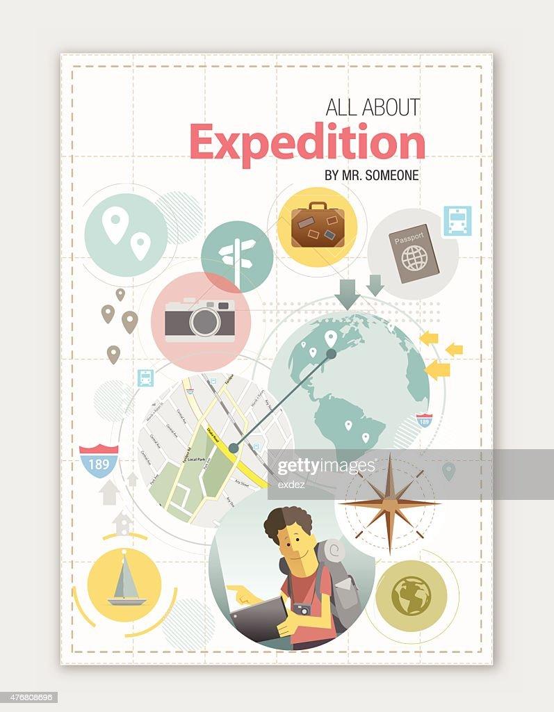 Travel design copy space : stock illustration