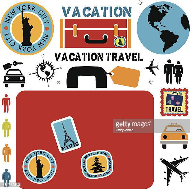travel design elements - luggage tag stock illustrations, clip art, cartoons, & icons