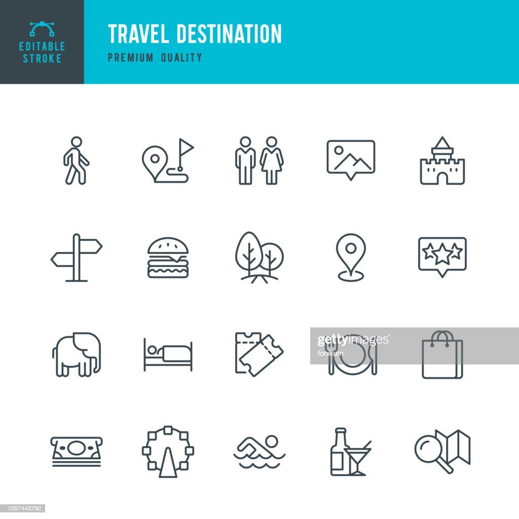 Reisbestemming - dunne lijn vector icons set : Stockillustraties