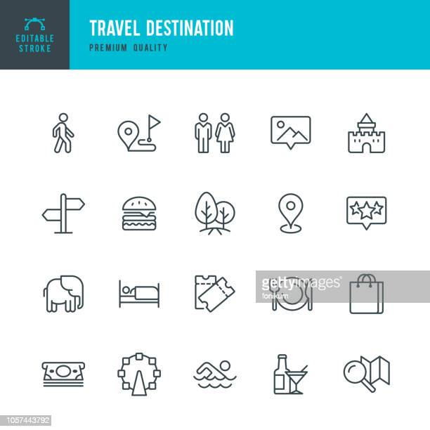 travel destination - set of thin line vector icons - tourist attraction stock illustrations