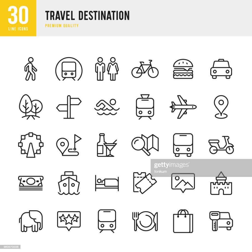 Travel Destination - set of thin line vector icons : stock illustration