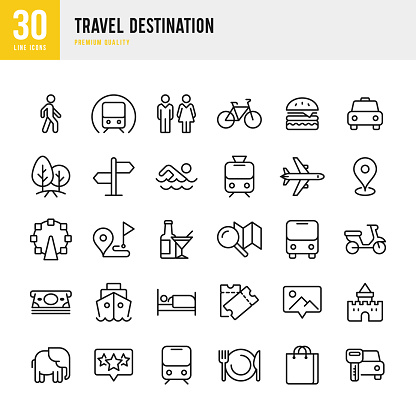 Travel Destination - set of thin line vector icons - gettyimageskorea