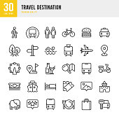 Travel Destination - set of thin line vector icons