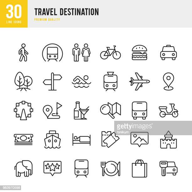 travel destination - set of thin line vector icons - train vehicle stock illustrations