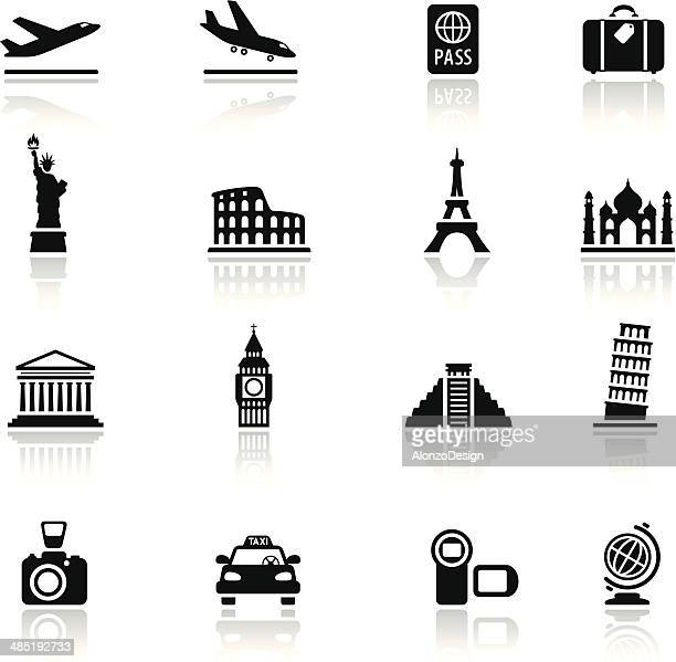 travel destinations icon set - leaning tower of pisa stock illustrations, clip art, cartoons, & icons