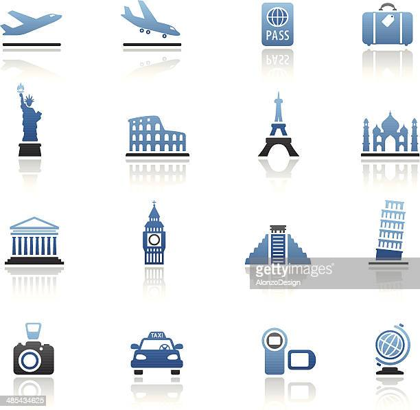 travel destinations icon set - liberty island stock illustrations, clip art, cartoons, & icons