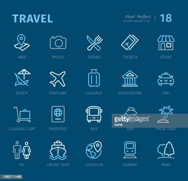 Travel destinations - Outline icons with captions