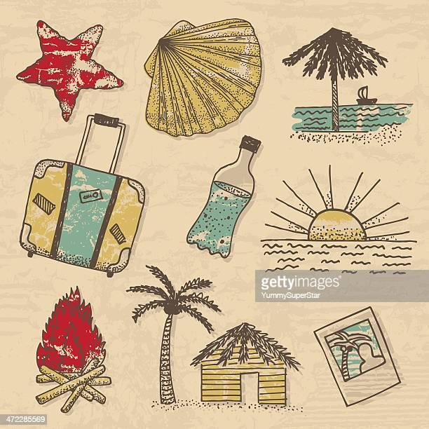travel doodles - bungalow stock illustrations, clip art, cartoons, & icons