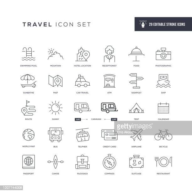 travel editable stroke line icons - charging sports stock illustrations