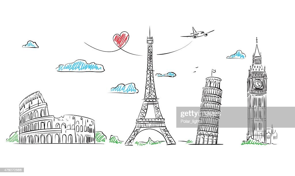 Travel Europe Symbol sketch. Paris, Rome, London, Pisa