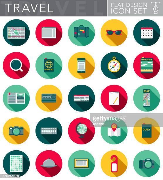 ilustraciones, imágenes clip art, dibujos animados e iconos de stock de conjunto de iconos de diseño plano con el lado sombra de viaje - maleta