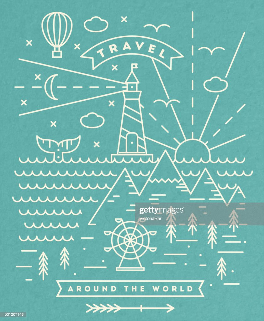 Travel flat line art illustration