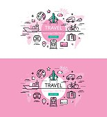 Travel. Flat line color hero images and hero banners design concept