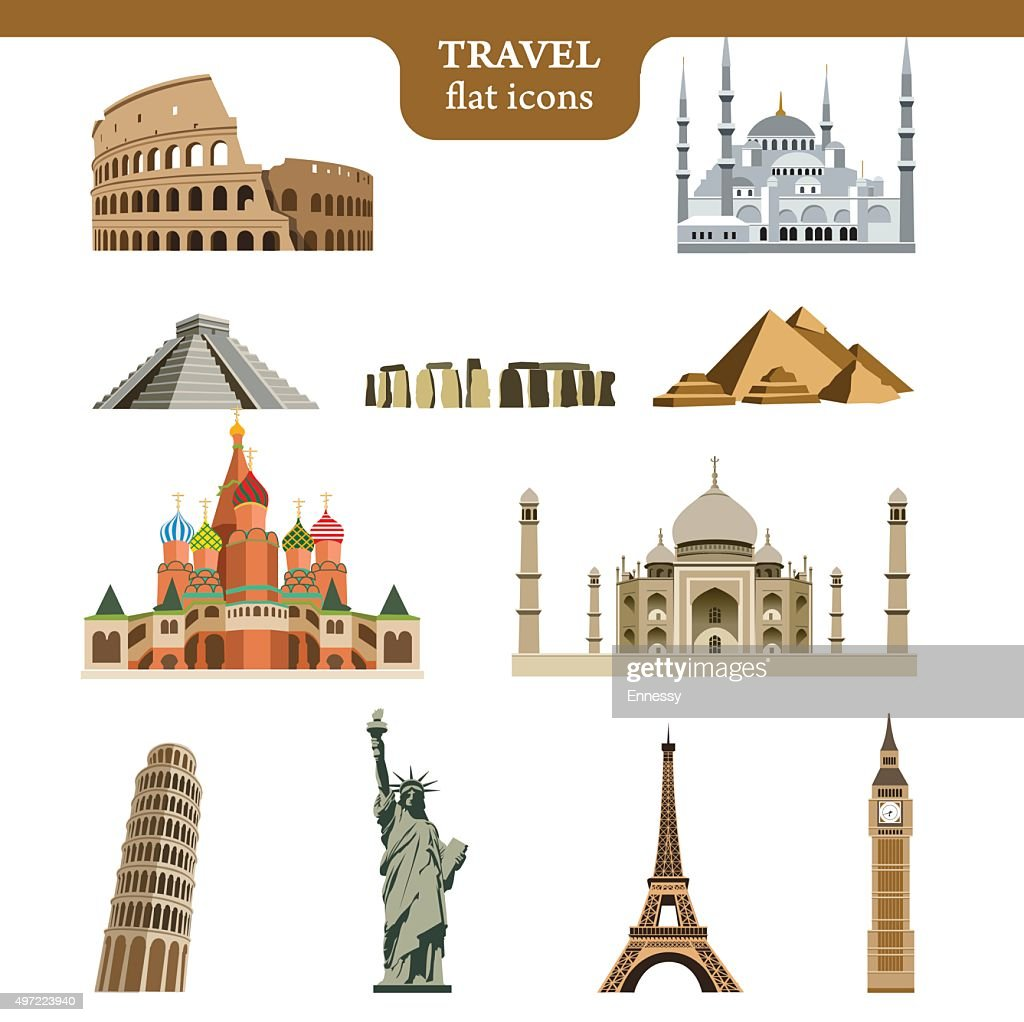 Travel flat vector icons set