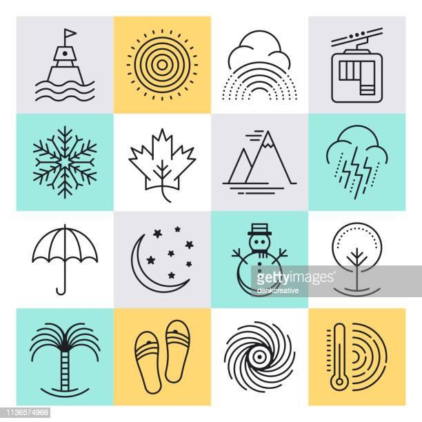ilustraciones, imágenes clip art, dibujos animados e iconos de stock de viajes frecuencia temporadas & tipos contorno estilo vector icono conjunto - las cuatro estaciones
