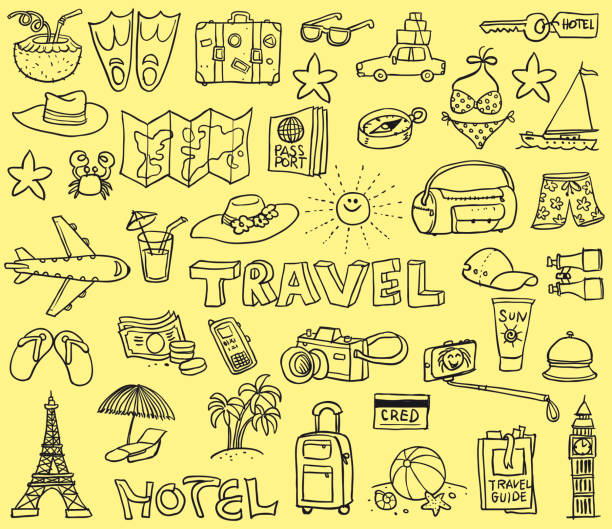 travel funny doodles - doodle stock illustrations