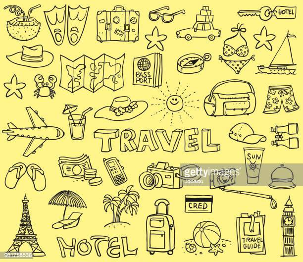 travel funny doodles - illustration technique stock illustrations
