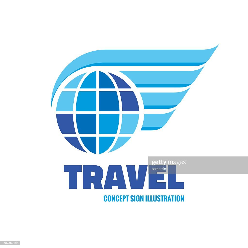 Travel - globe with wing vector sign