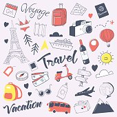 Travel Hand Drawn Doodle with Luggage, Globe