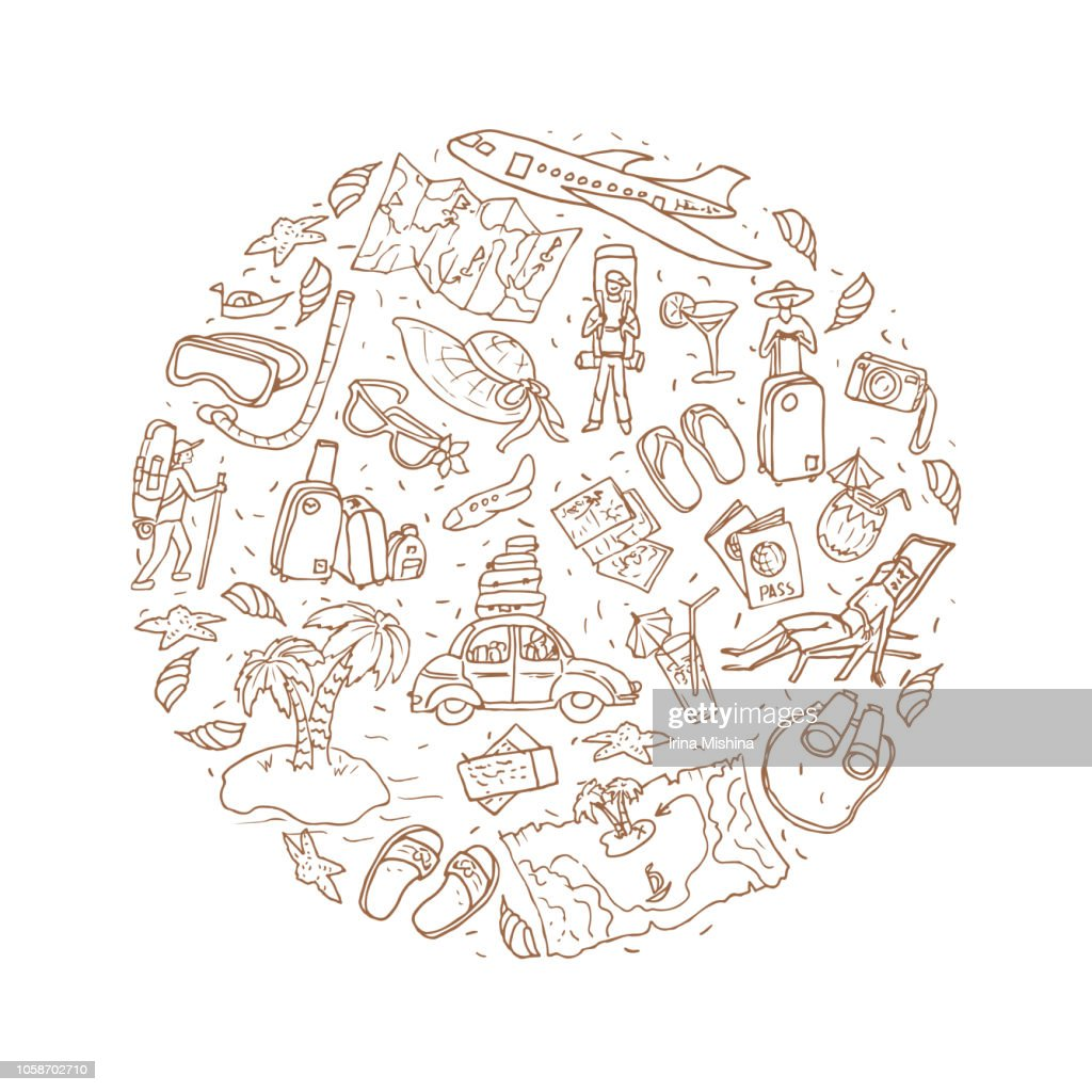 Travel hand drawn doole shaped in circle. Isolated illustration