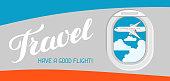 Travel. Have a good flight. Illustration of airplane illuminator