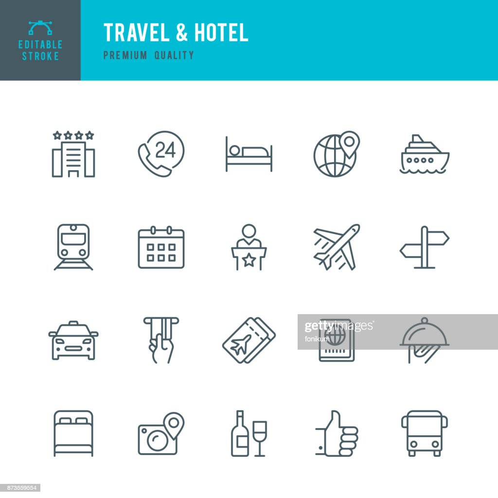 Travel & Hotel - set of thin line vector icons : Stock Illustration